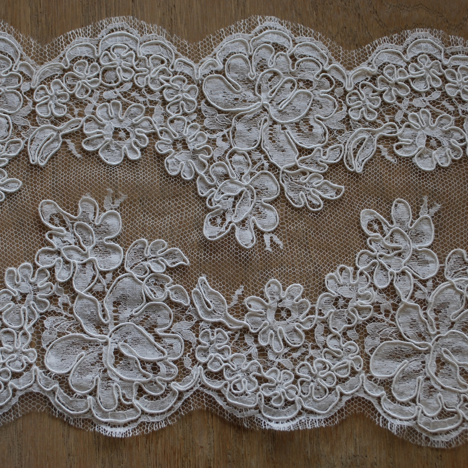 Alençon lace is a corded lace made on a sheer netting. It is pronounced (a-lonh-sohn).