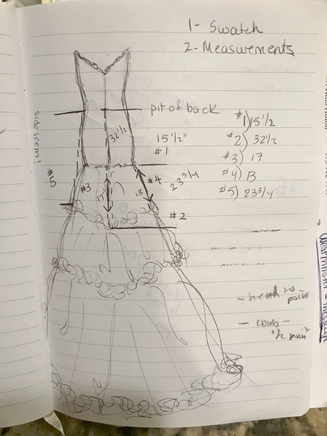 I was specific on the measurements I wanted to ensure her veil design would follow the silhouette of her gown and hit the points I wanted on the back of her dress. So I gave the Next Great Baker a homework assignment to do. I did a quick sketch of her dress in her wedding notebook and asked her to fill in the blanks.