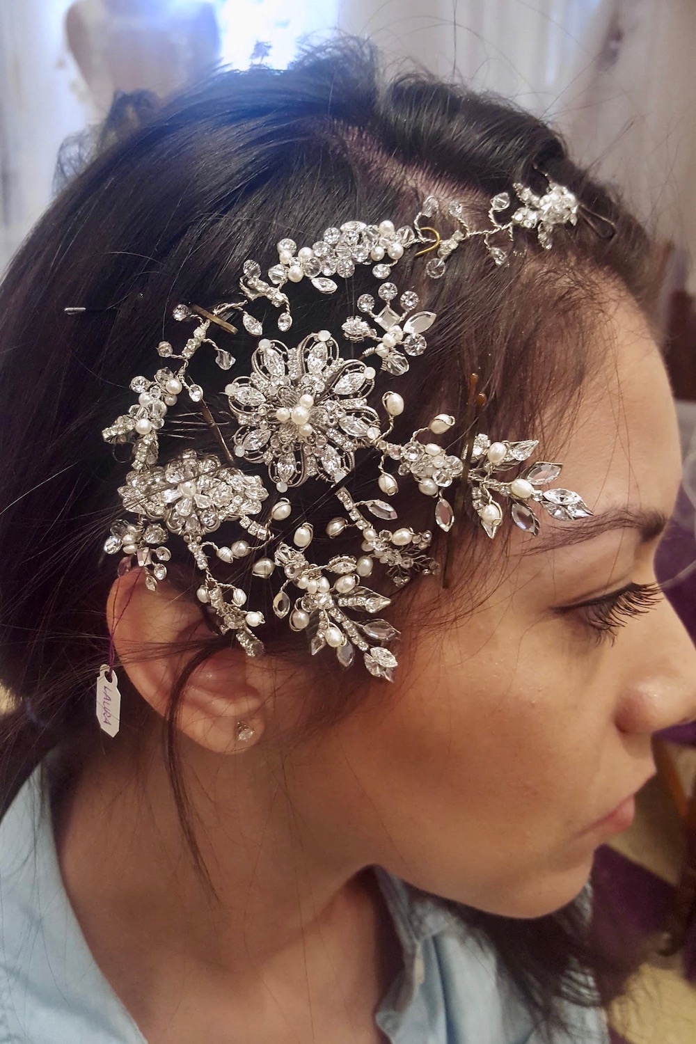 This is an amazing side headpiece in the midst of being created by using several different designs.