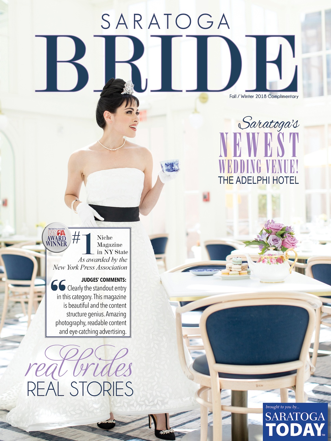The Audrey Hepburn photo shoot we did with Something Bleu Bridal for Saratoga Bride magazine will always be among the best. This edition recently won its fourth award and our Breakfast at Tiffany's inspired headpiece made the cover.