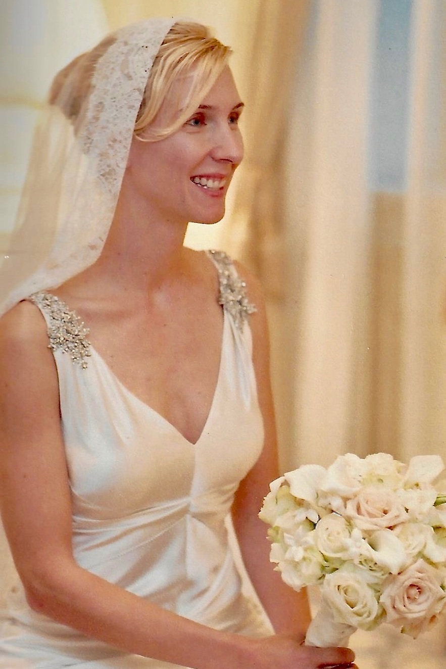 Lace has seen an amazing comeback in wedding fashion. We designed this gorgeous French Chantilly lace mantilla in 2006.