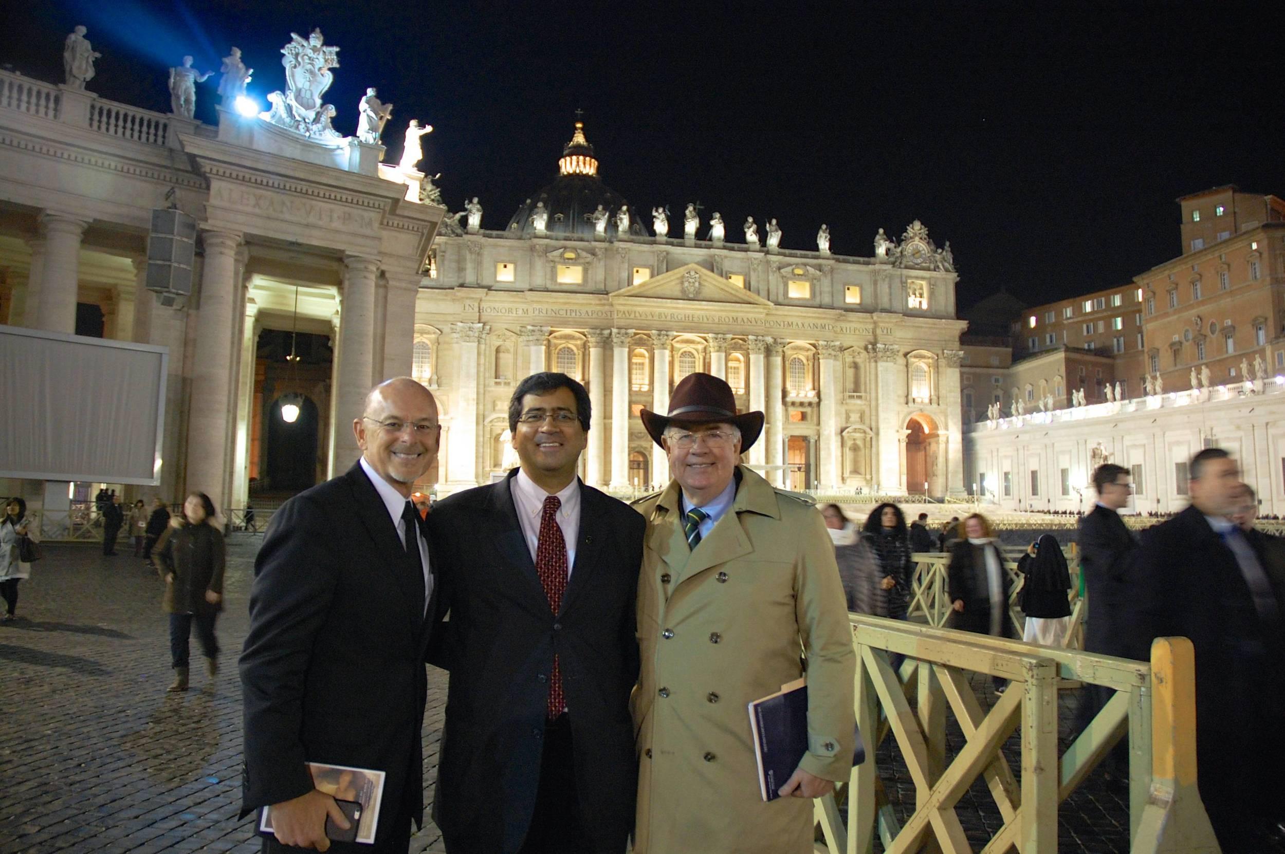 Byron Johnson, Tim Shah, and Ken Starr at St. Peter's Basilica.
