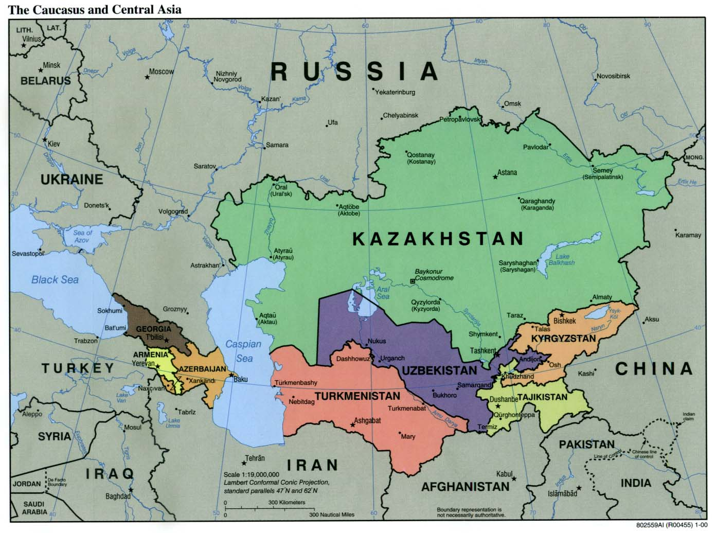 Four former Soviet countries in Central Asia are on the U.S. Commission on International Religious Freedom's list of violators. Photo: Wikimedia Commons / Central Asia Political Map