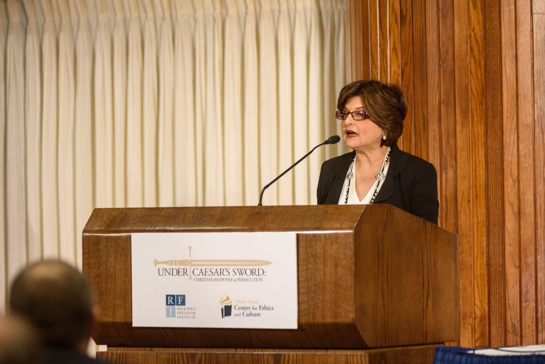 """Farahnaz Ispahani delivers a keynote address on Pakistan's treatment of religious minorities at the Under Caesar's Sword project symposium """"What is to be Done? Responding to the Persecution of Christians,"""" April, 20, 2017. Photo: Nathan Mitchell Photography"""
