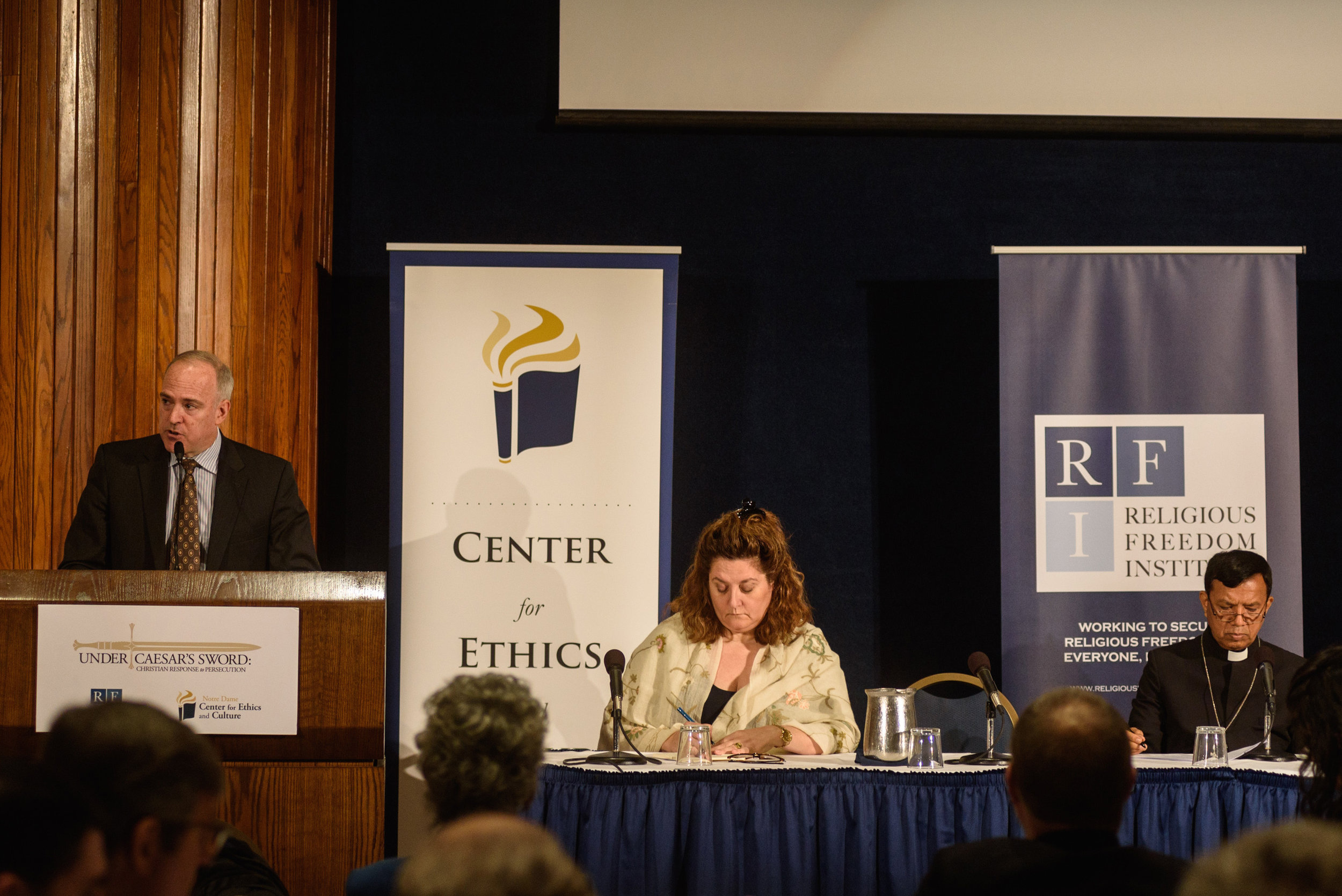 Daniel Philpott joins Sebastian Francis Shaw, Archbishop of Lahore, India, and scholar Elizabeth Prodromou to discuss the findings of the Under Caesar's Sword project (  What is to Be Done?   symposium, April 2017) Photo: Nathan Mitchell Photography