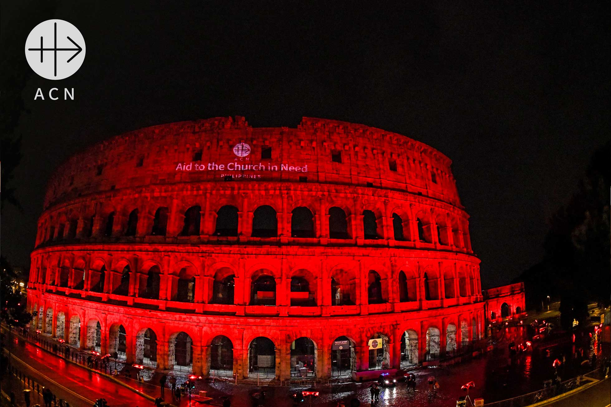 Rome's Colosseum is bathed in red light on February 24 in a show of solidarity with Christian's martyred around the world. Photo: Aid the Church in Need/ https://www.facebook.com/acninternationalorg