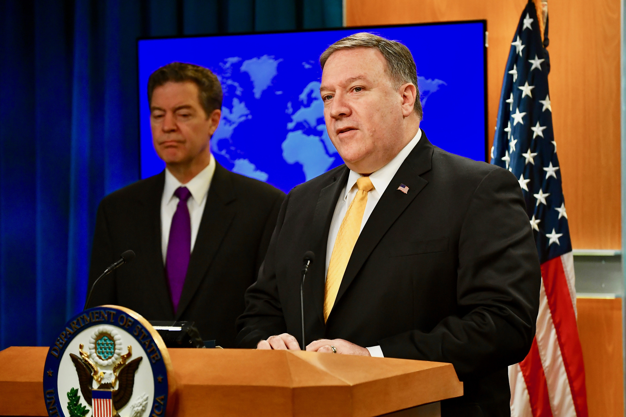 "Secretary of State Mike Pompeo and Ambassador Sam Brownback announce the first-ever ""Ministerial to Advance Religious Freedom"" along with the release of the State Department's annual International Religious Freedom Report in Washington, May 29, 2018. Photo: State Department/Public Domain"