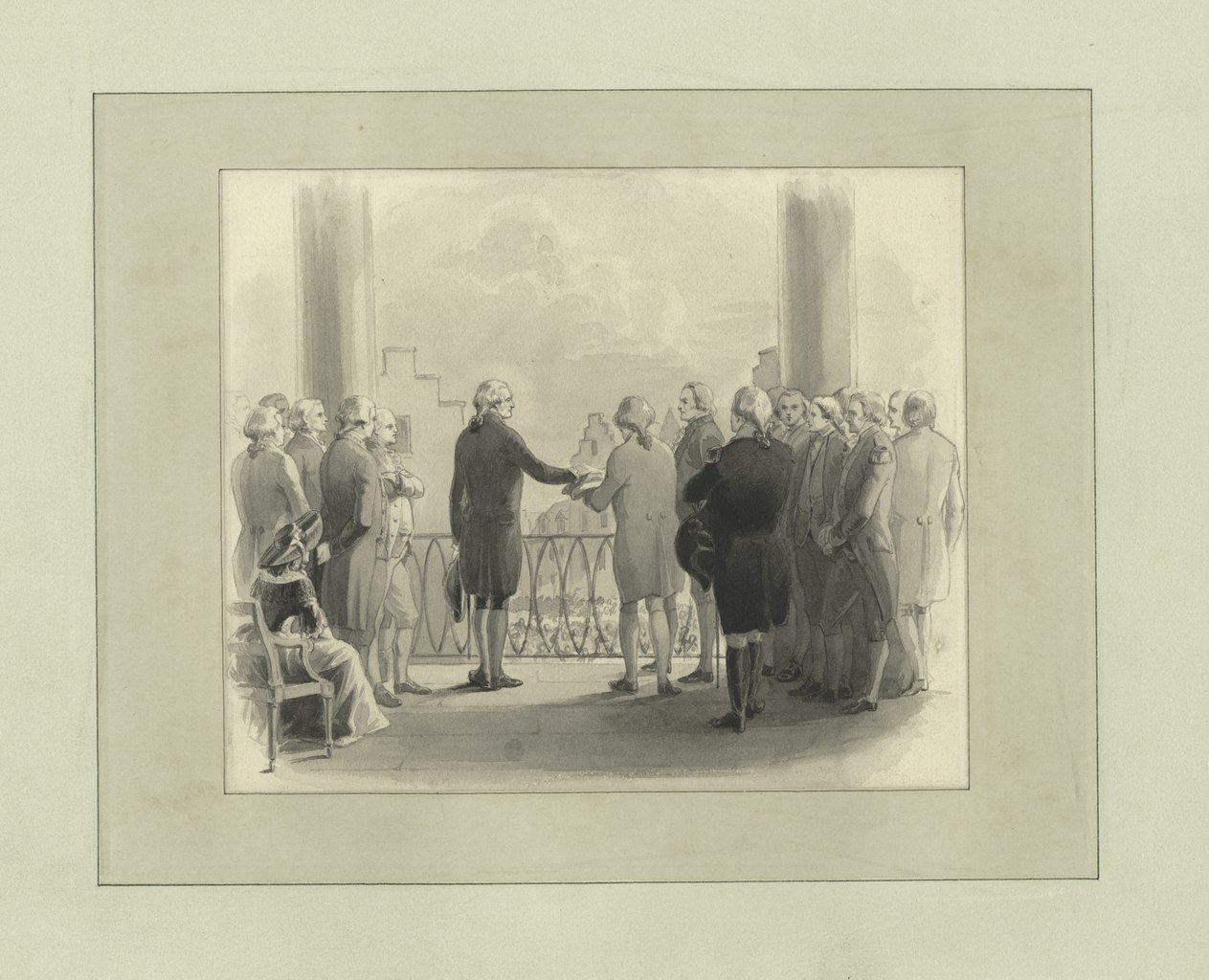 """""""Washington swearing the oath of office,"""" Source: New York Public Library's Digital Collection."""