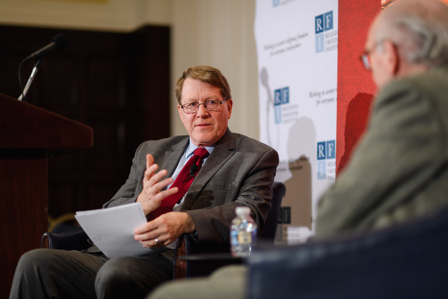 Kent Hill, Executive Director, Religious Freedom Institute, interviews author Martin Mosebach on what he learned in writing his book on the martyrdom of 21 Christians killed in Libya.  Photo: RFI/Nathan Mitchell