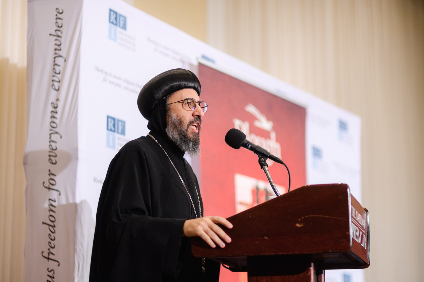 Archbishop Angaelos, Coptic Orthodox Archbishop of London, delivers a keynote address on the impact of the 21 martyrs four years after they were killed in Libya.
