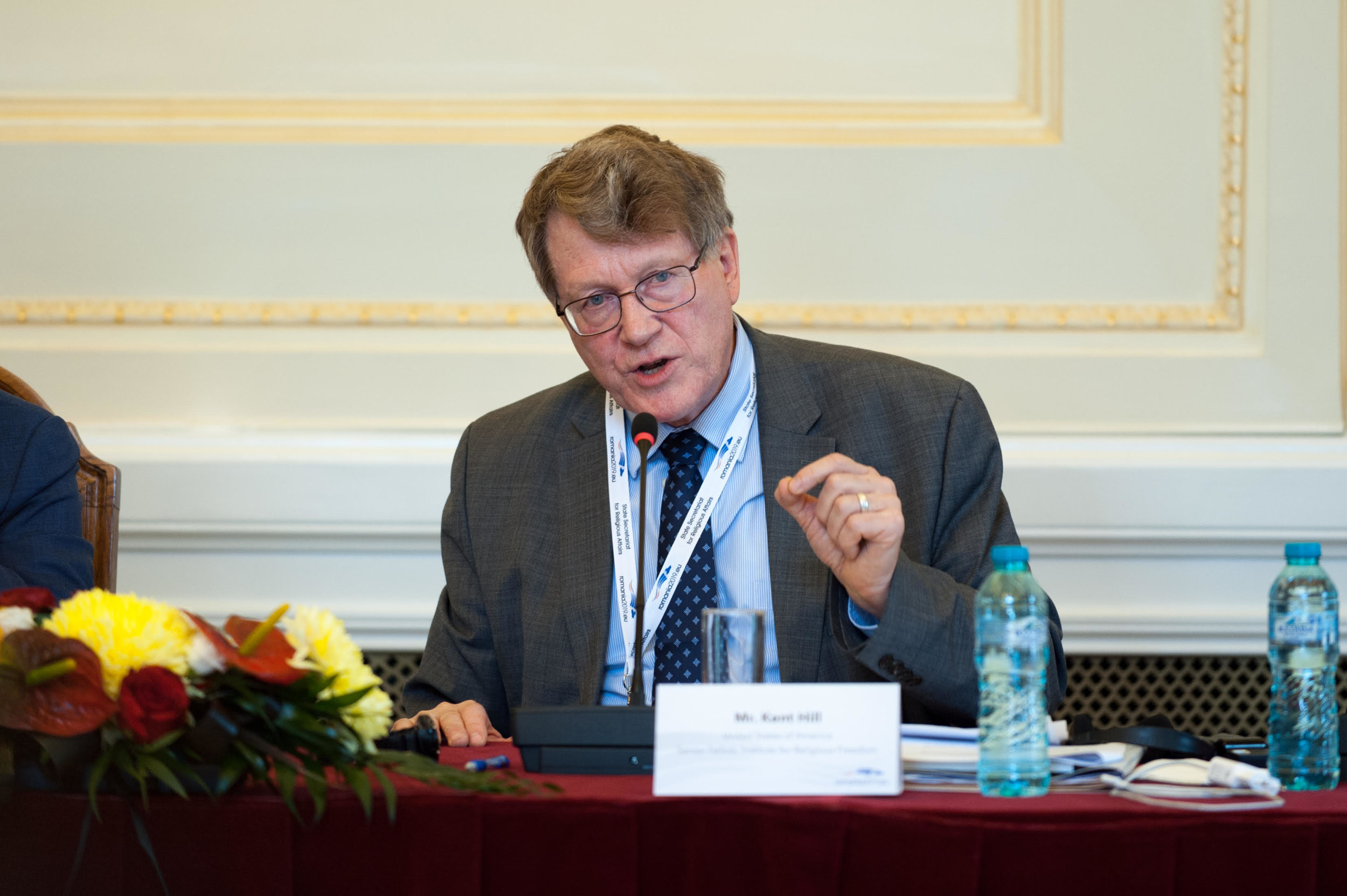 Kent Hill, Senior Fellow for Eurasia, Middle East, and Islam delivers remarks in Bucharest, Romania.