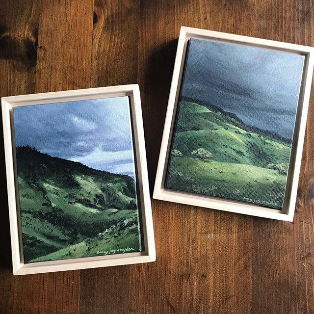 "Oh hey, these two are available in my shop right now. ""Steadfast"" and ""Light Overcomes"", both 6x8 and framed in raw maple floater frames. You can find them at the link in my bio.🌿"
