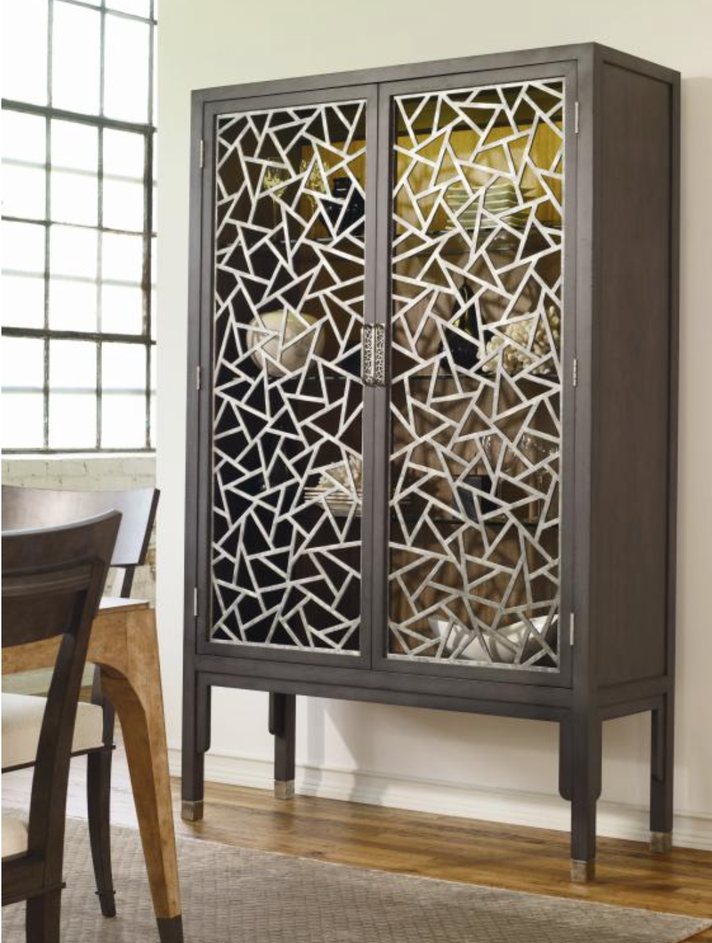 Any space would be graced with the unique, beautiful grilles panel design. This display cabinet bring a twist to any sophisticated dining area.