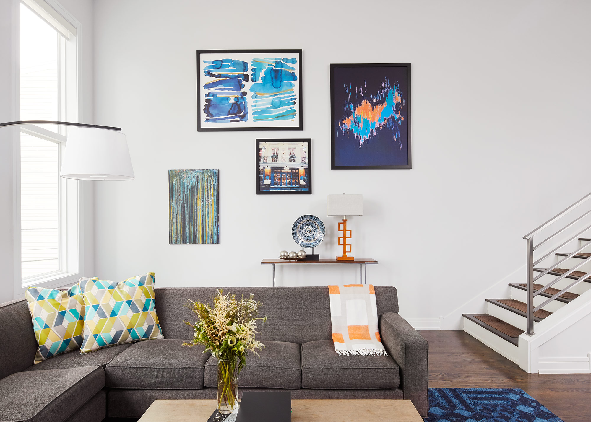 Family Room- Interior Design- Art Curation by Paula Interiors