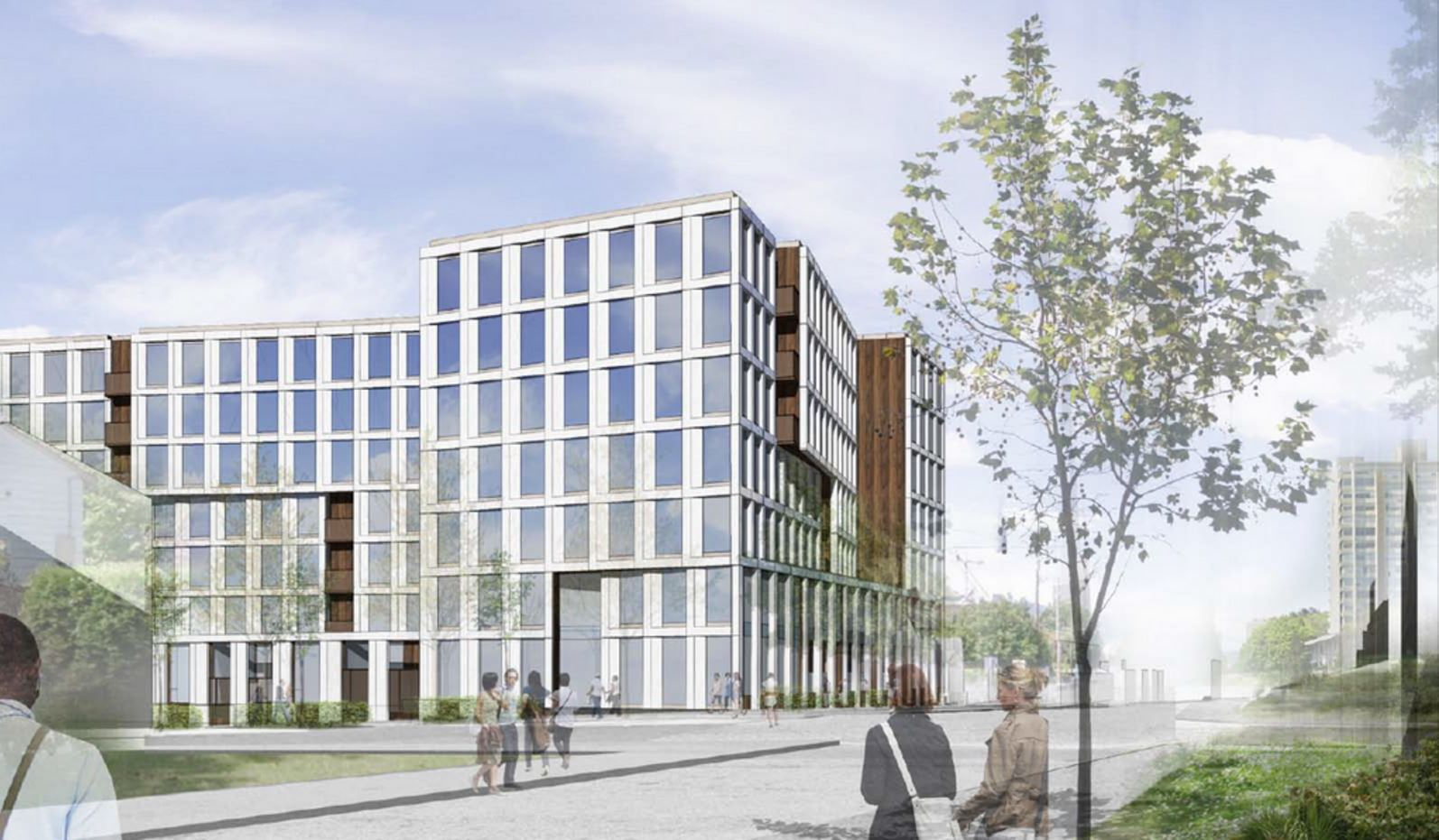 Rendering of new apartment building at NE 21st and Multnomah
