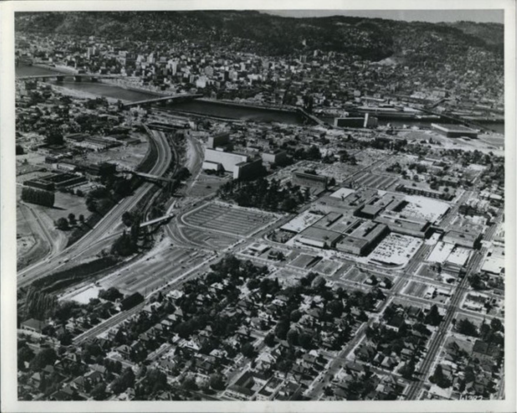 Lloyd Center, 1963 Oregonian Archive photo. There were an additional 3,000 parking spaces under cover at the Lloyd Center at the time.