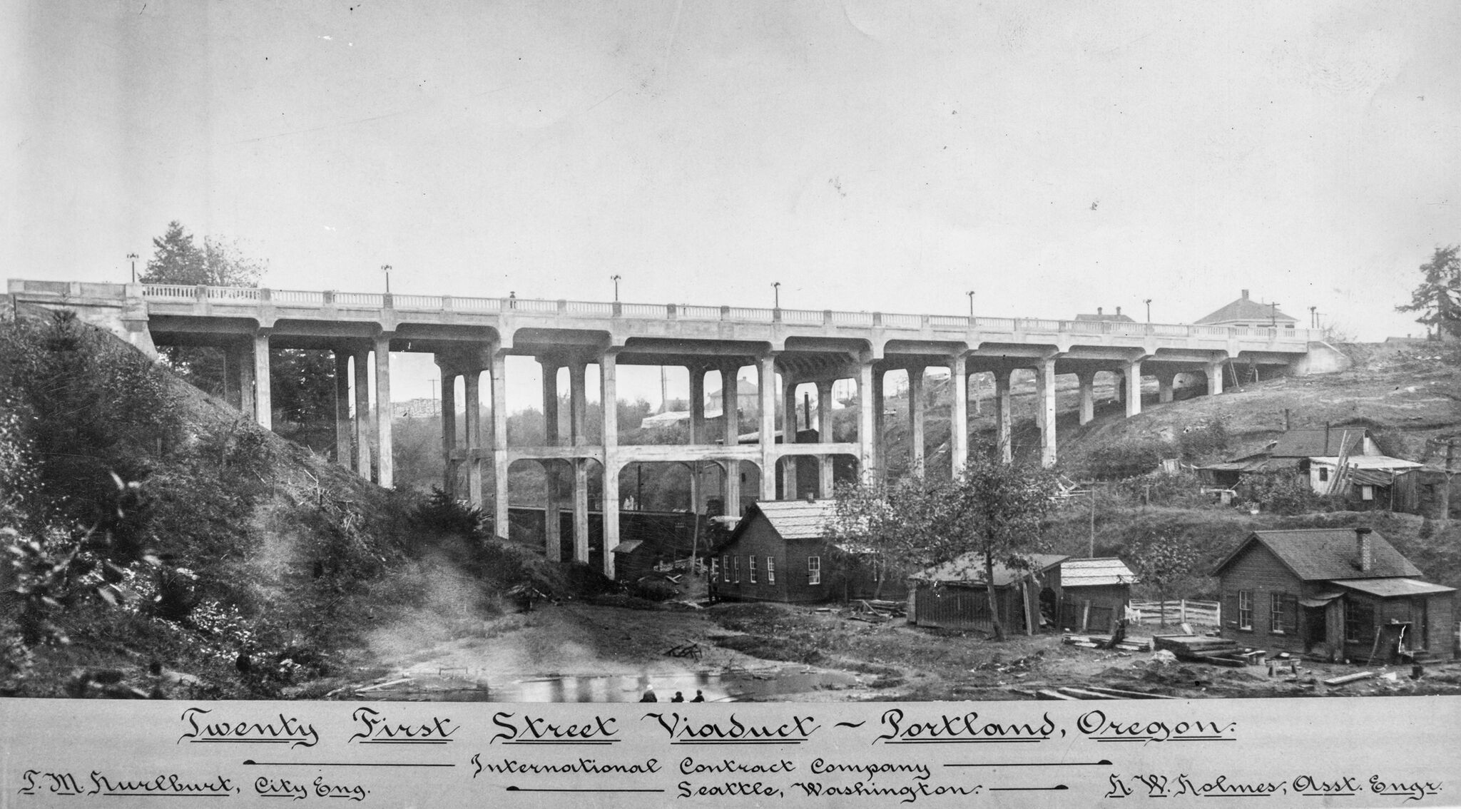 Date Unknown, 21st Street Viaduct crosses Sullivan's Gulch, site of small houses OHS   bb015432
