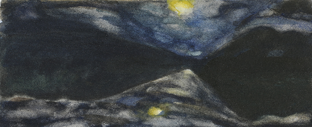 TWO MOONS II 1999, 2.5 x 5 inches private collection © 2016, Michael Kirk all rights reserved