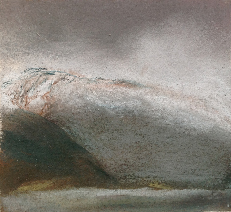 SPRING SNOW, Lofoton, Norway, pastel, 1991, 5 x 6 inches; © 2016, Michael Kirk, all rights reserved