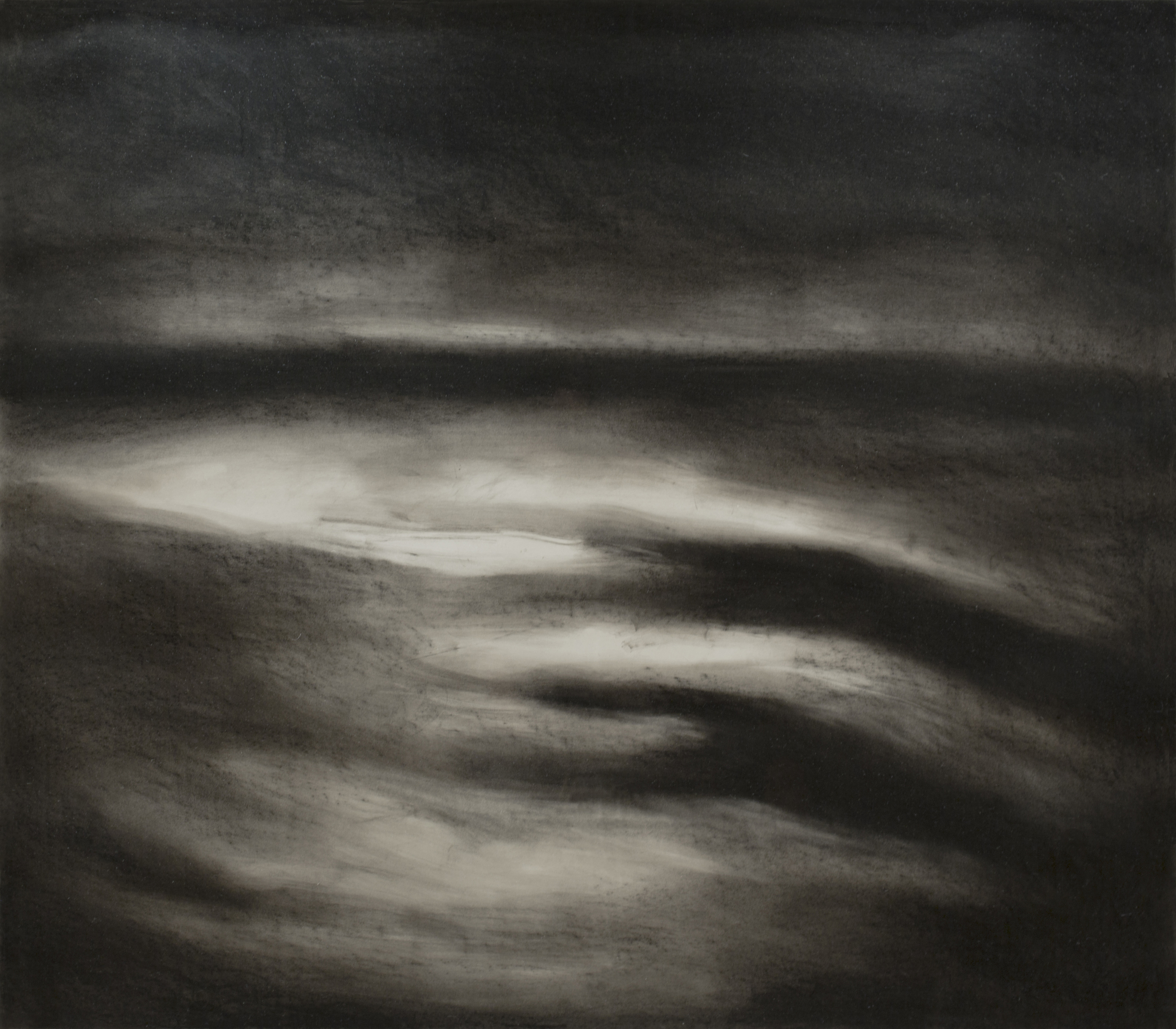 MOONLESS NIGHT RECEDING TIDE, charcoal, 61.5 x 69 inches; © 1990, Michael Kirk, all rights reserved