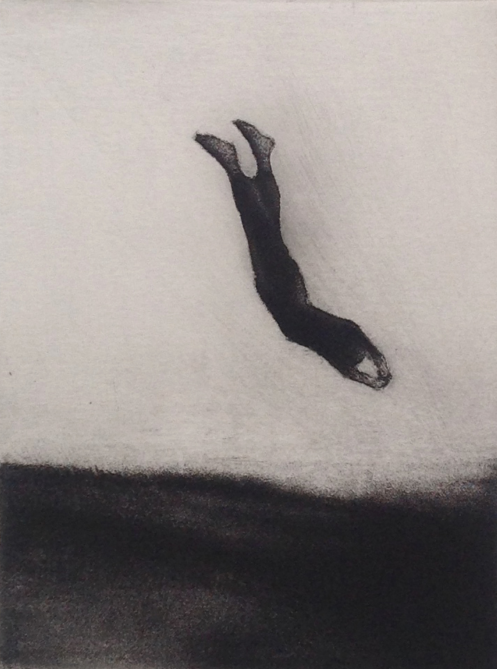 DIVER etching, 1982 4.5 x 3.5 inches © 2016, Michael Kirk all rights reserved