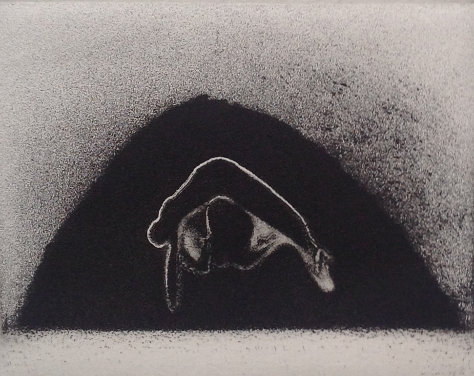 CAVE etching, 1982 3 x 3.875 inches edition: 10 © 2016, Michael Kirk all rights reserved