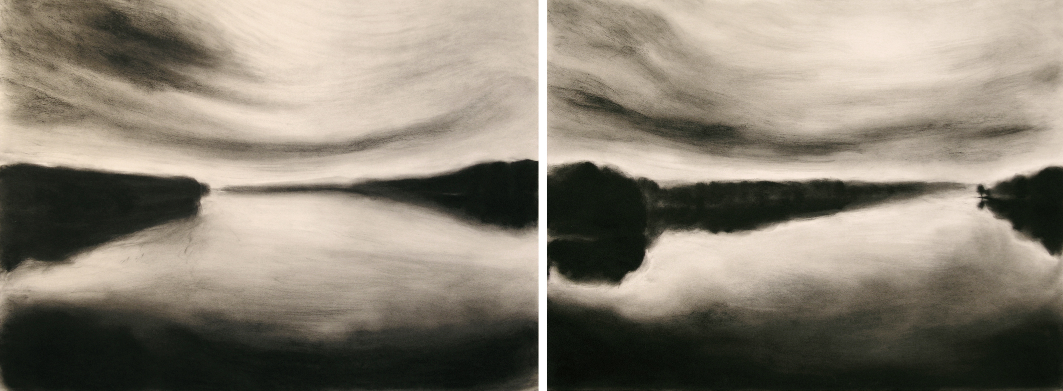 THE SHADOW THE RIVER KEEPS 2004, two panels @ 22 x 60 inches private collections © 2016, Michael Kirk all rights reserved