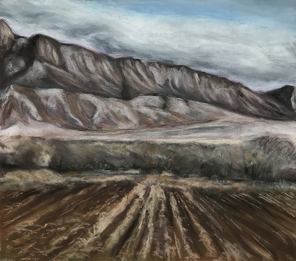 SANDIA FARM IN WINTER 1987, 20 x 22 inches © 2017, Michael Kirk all rights reserved