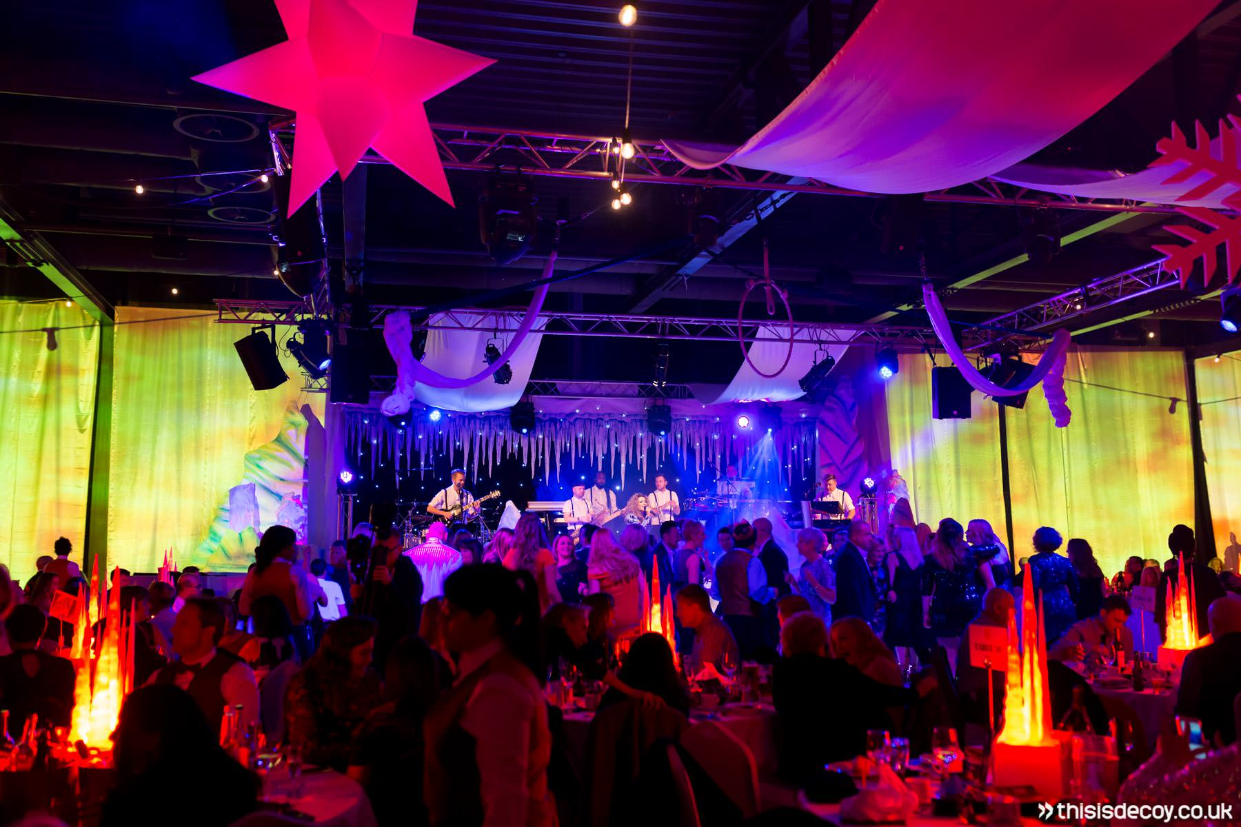busy room at christmas party event