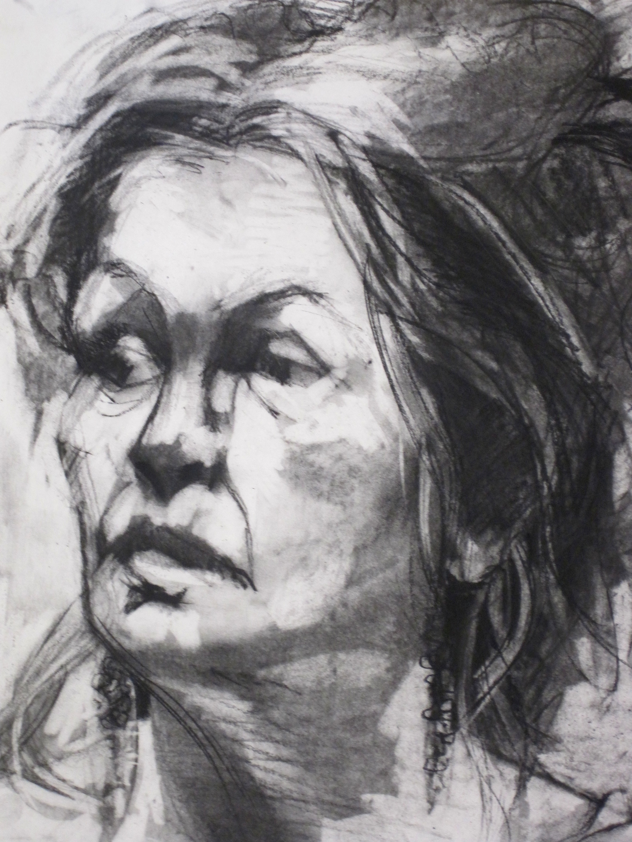 Charcoal on paper (detail)  18 x 24""