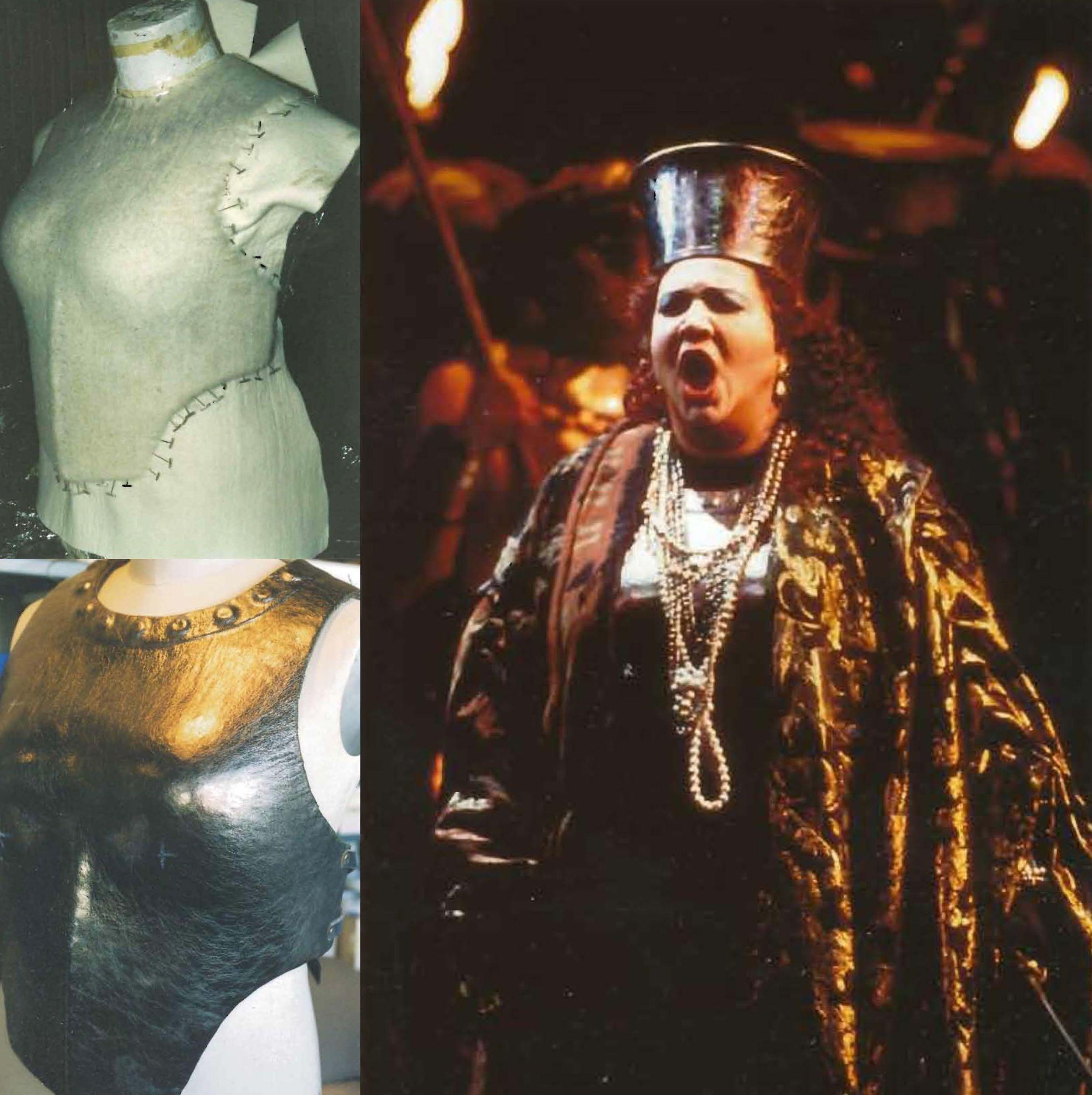 Armor: sized felt, leather, patina