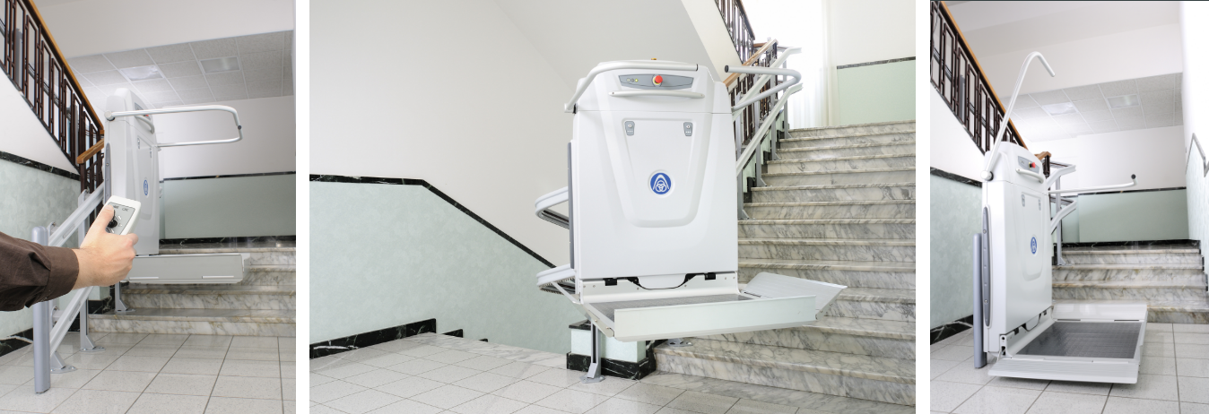 Inclined Platform Lifts - Similar to a stairlift - But the use of the platform makes it suitable for wheelchair users.