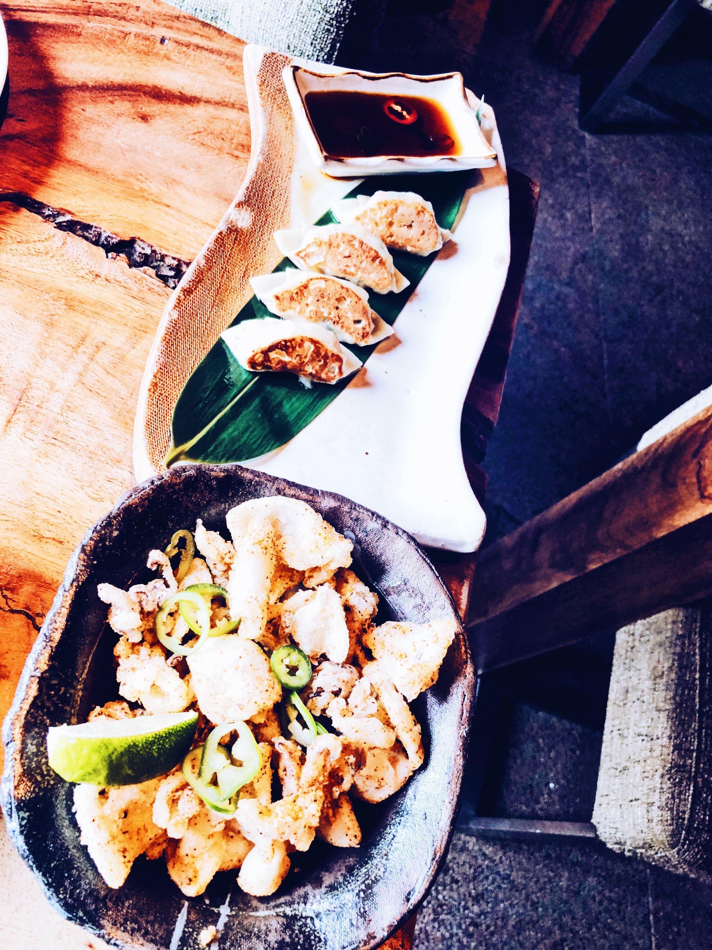 Crispy chilli squid & wagyu beef gyoza -