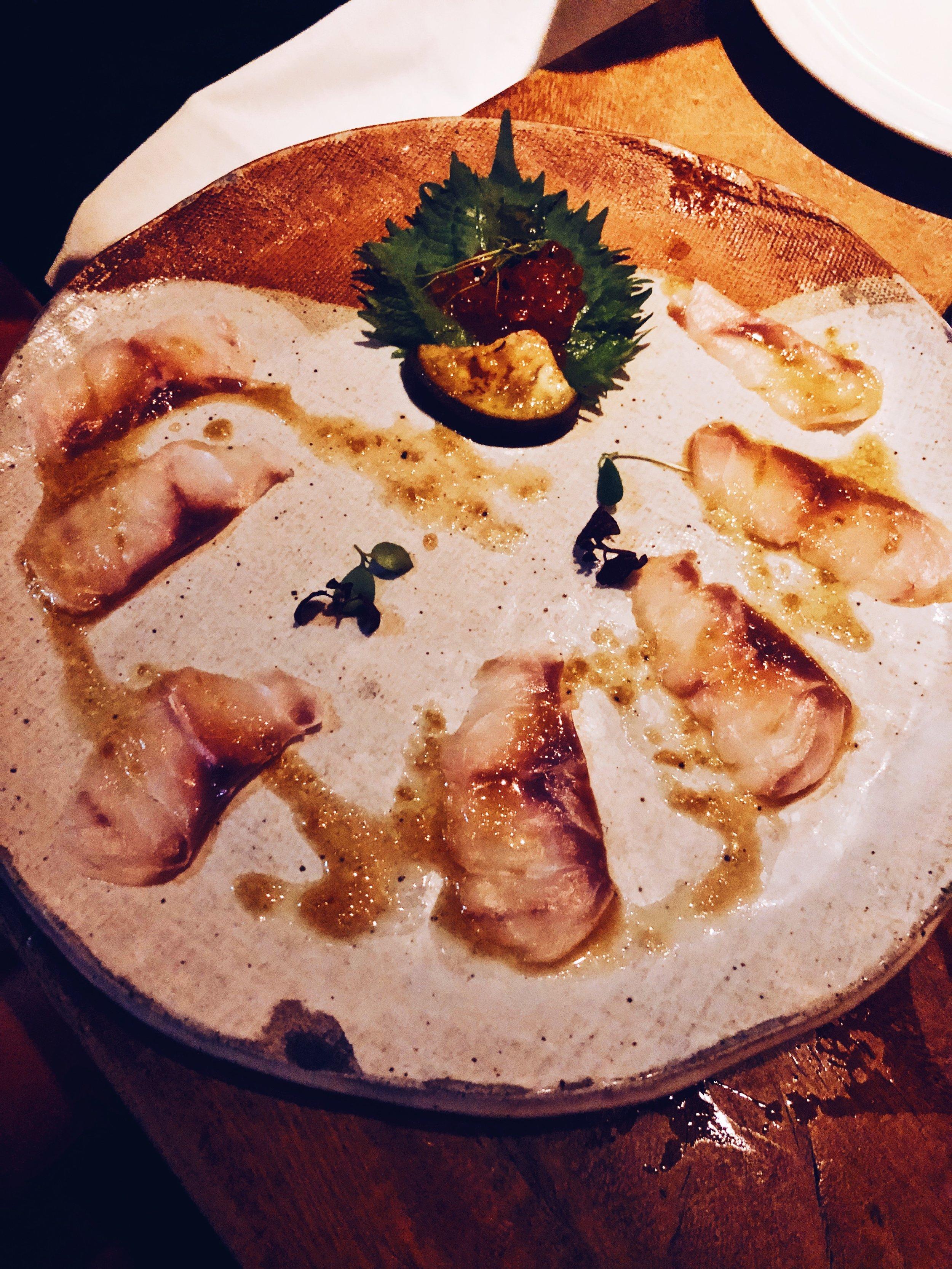 Seabass sashimi with truffle ponzu -