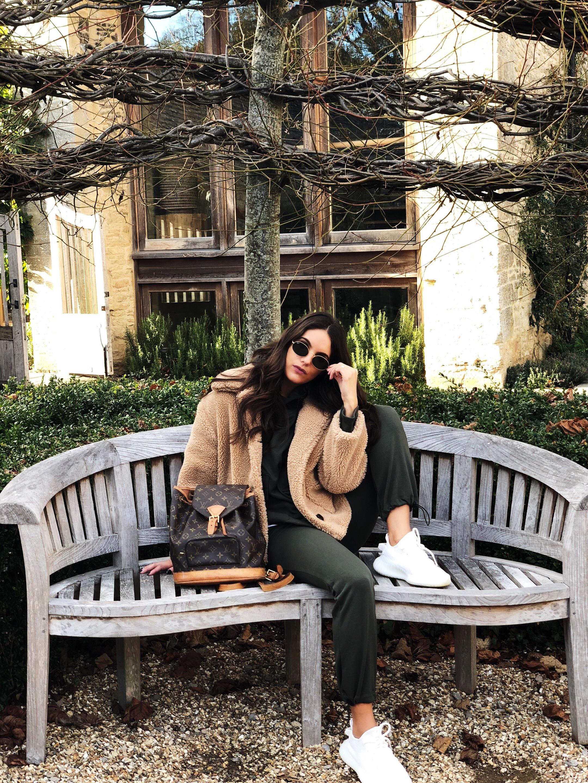 J Wears   Tracksuit - Zara    Teddy Coat - Zara    Trainers - Yeezy    Bag - Louis Vuitton
