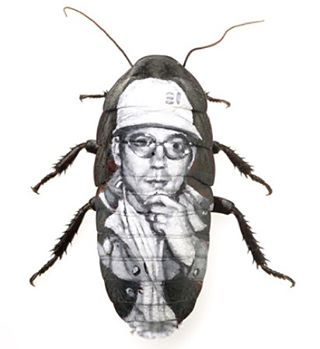 Hunter ,oil on roach, 2007  too strange to live but too rare to die. #evanskrederstu  #roach #paintedbug #bugpainting #huntersthompson #hunter #hunterthompson #uglarworks  #fineart #insect #painting #painted insect #fearandloathing  #fearandloathinginlasvegas  #drgonzo #detail