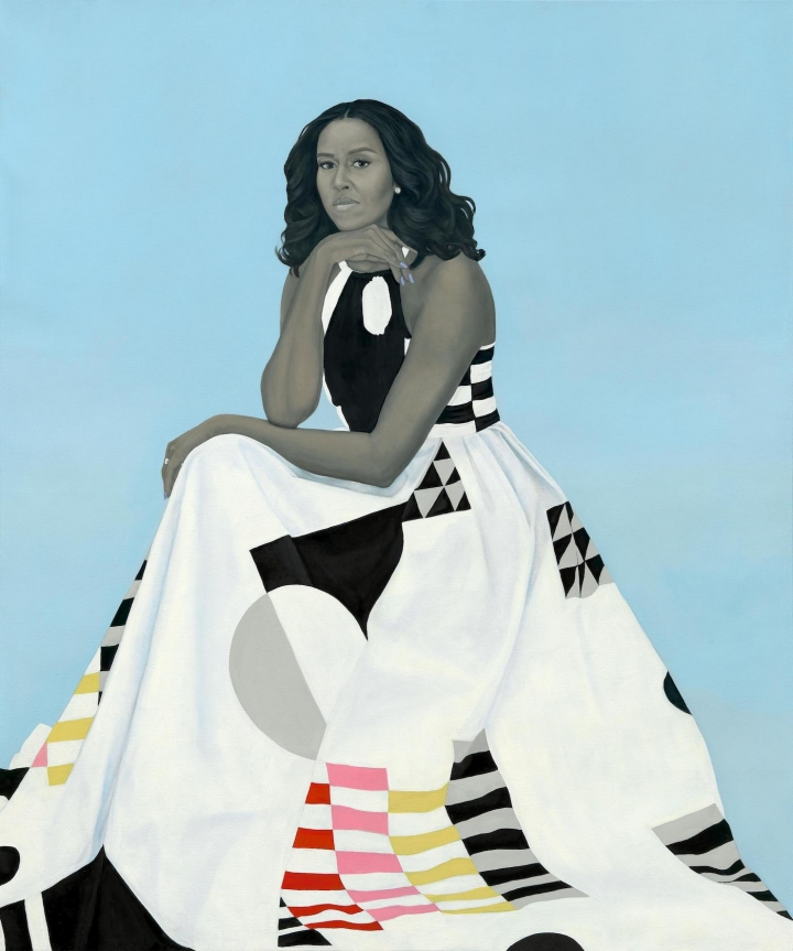 Michelle Obama,  Amy Sherald (2018).  Image courtesy National Portrait Gallery, Smithsonian Institution/ Hyperallergic.