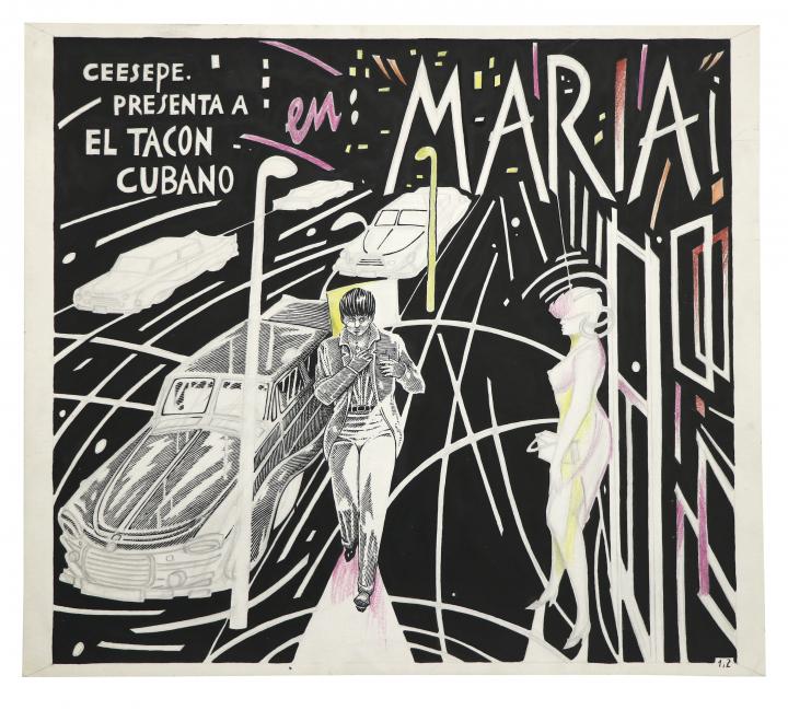 """Ceesepe,  El Tacón Cubano en: """"María""""  (1980). Image courtesy  Hyperallergic."""