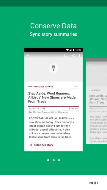 Courier news app, Data setting