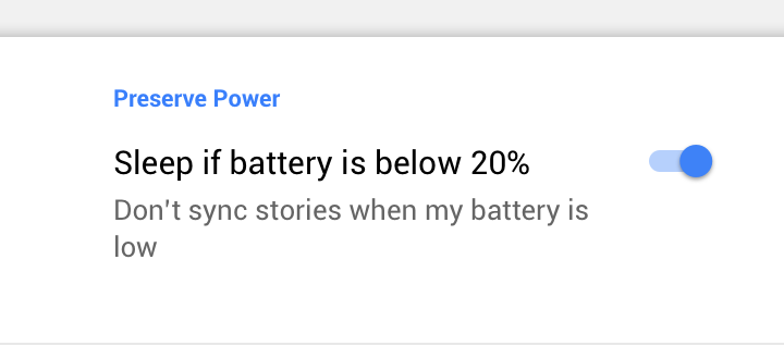 Courier news app, Battery setting