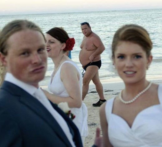Public beaches are great places to crash weddings