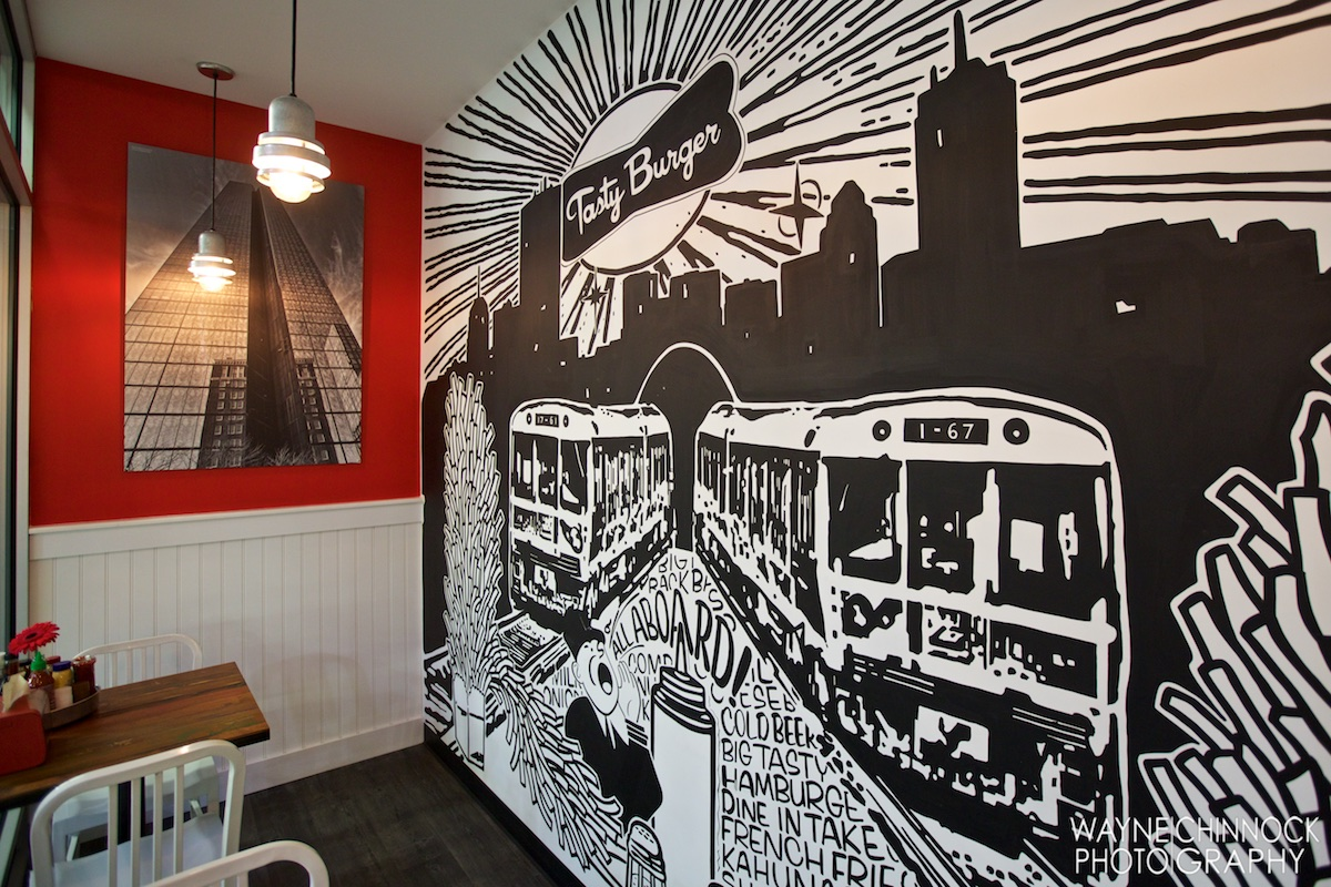 Commissioned wall mural for Tasty Burger Restaurant