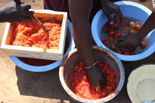 Washing, boiling and mashing tomatoes to make jam preserve.