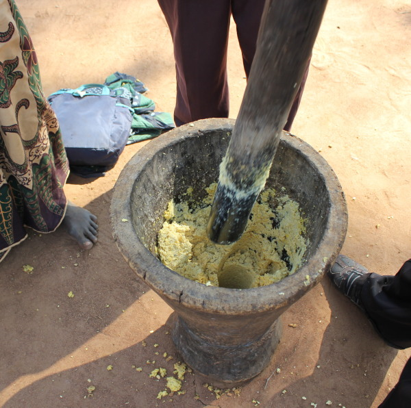 Mashing Soya beans to powder/flour prior to drying in the sun.