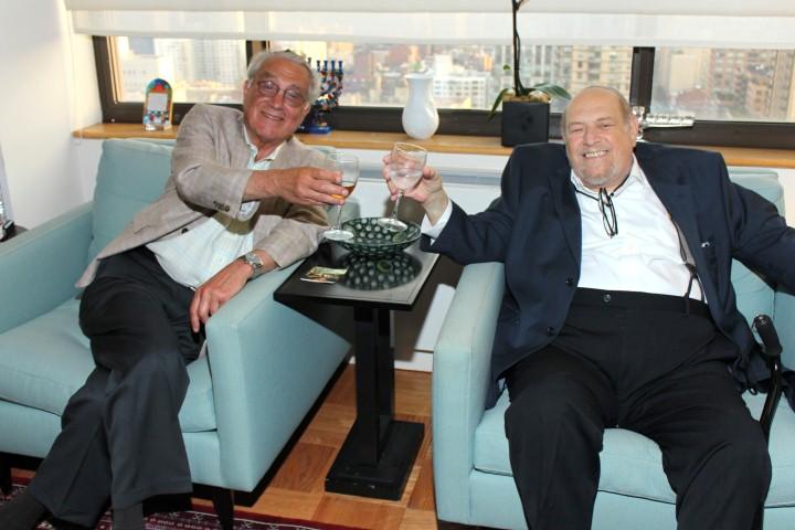 Joe Aronow and Arthur Alexander enjoying a Lechayim