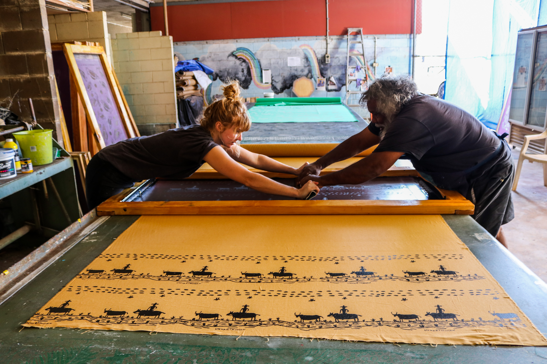 Millie Shorter and Stewart Hoosan with Stewart's 'ringer' print. Photo: Maggie McGowan.