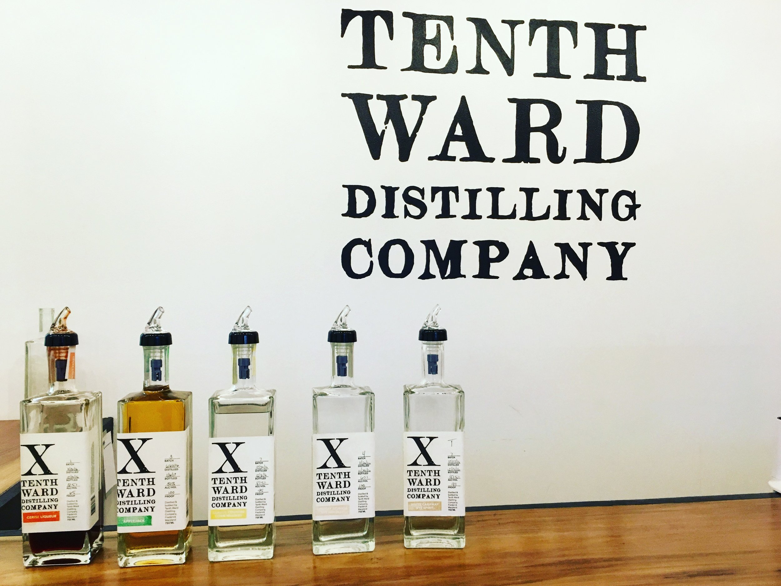 Tenth Ward Distilling line of spirits in the tasting room. (Photo by David Amini)