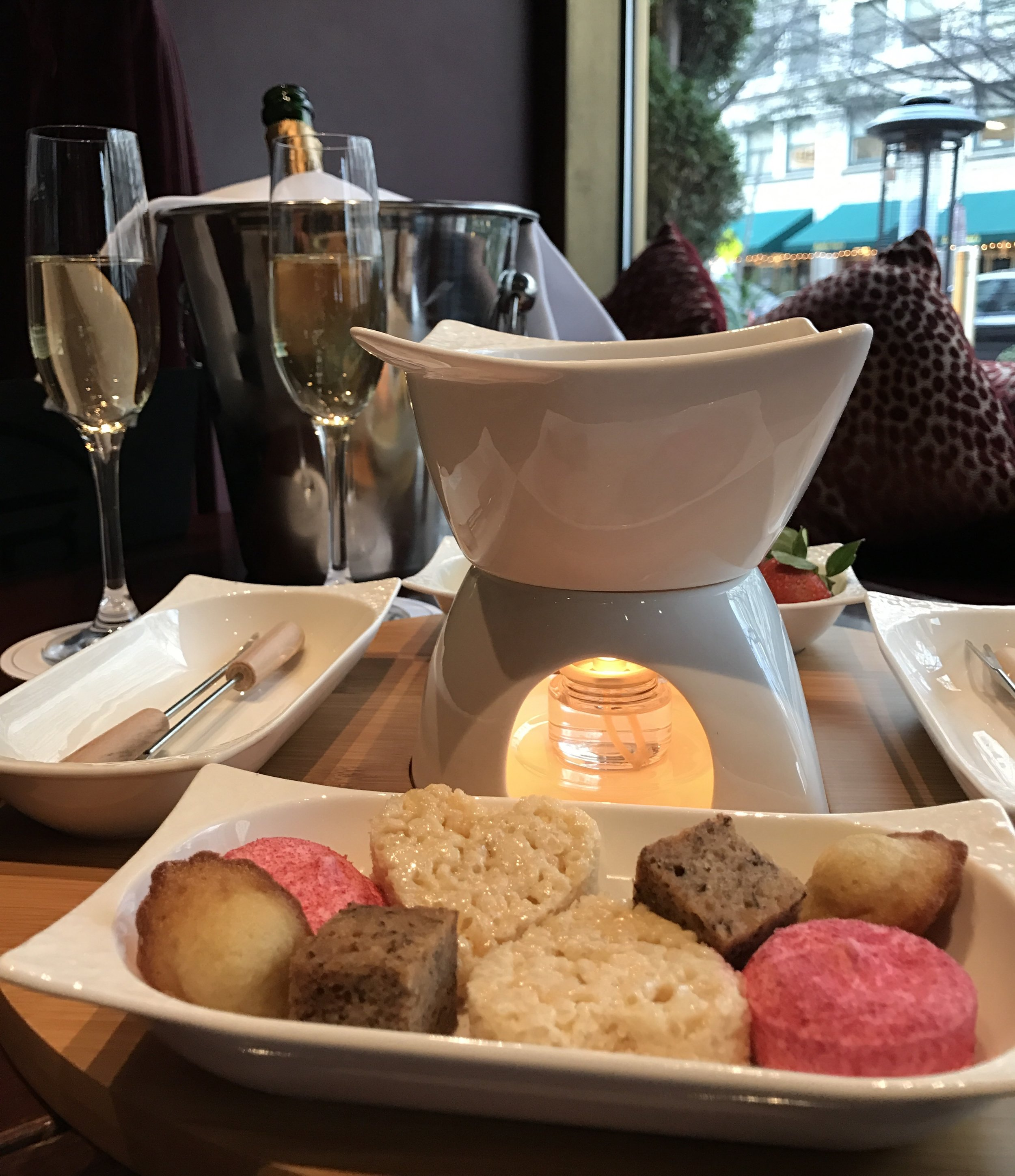 Fondue & Champagne special at Le Bar inside the Sofitel DC. (Photo by AJ Dronkers)