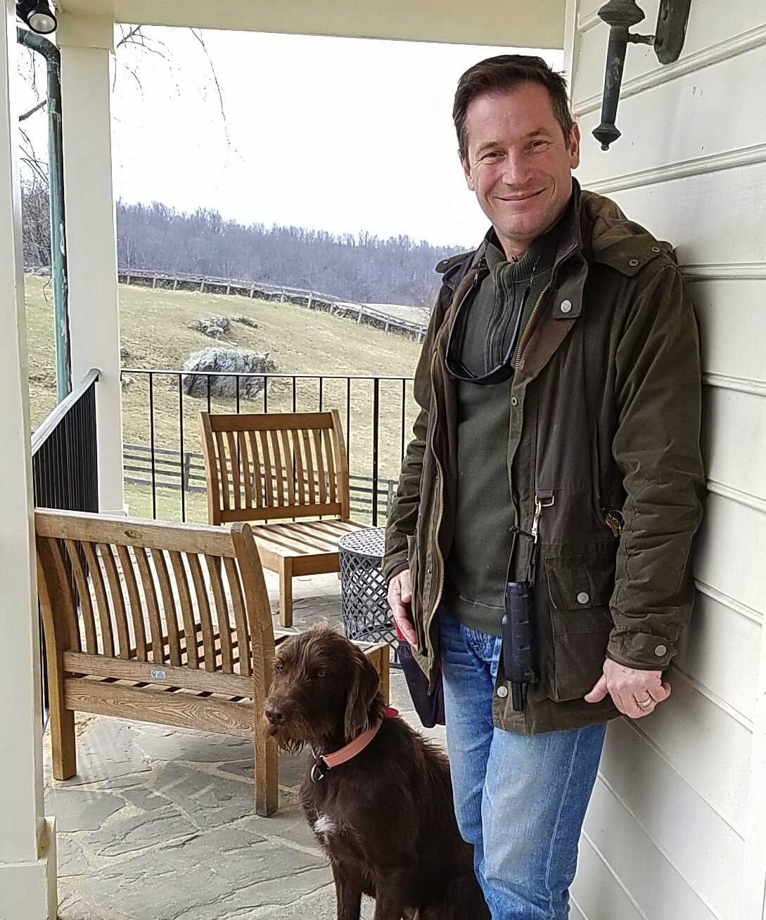 Greenhill winemaker Sébastien Marquet and his dog, Ilus, a poodle-pointer mix.