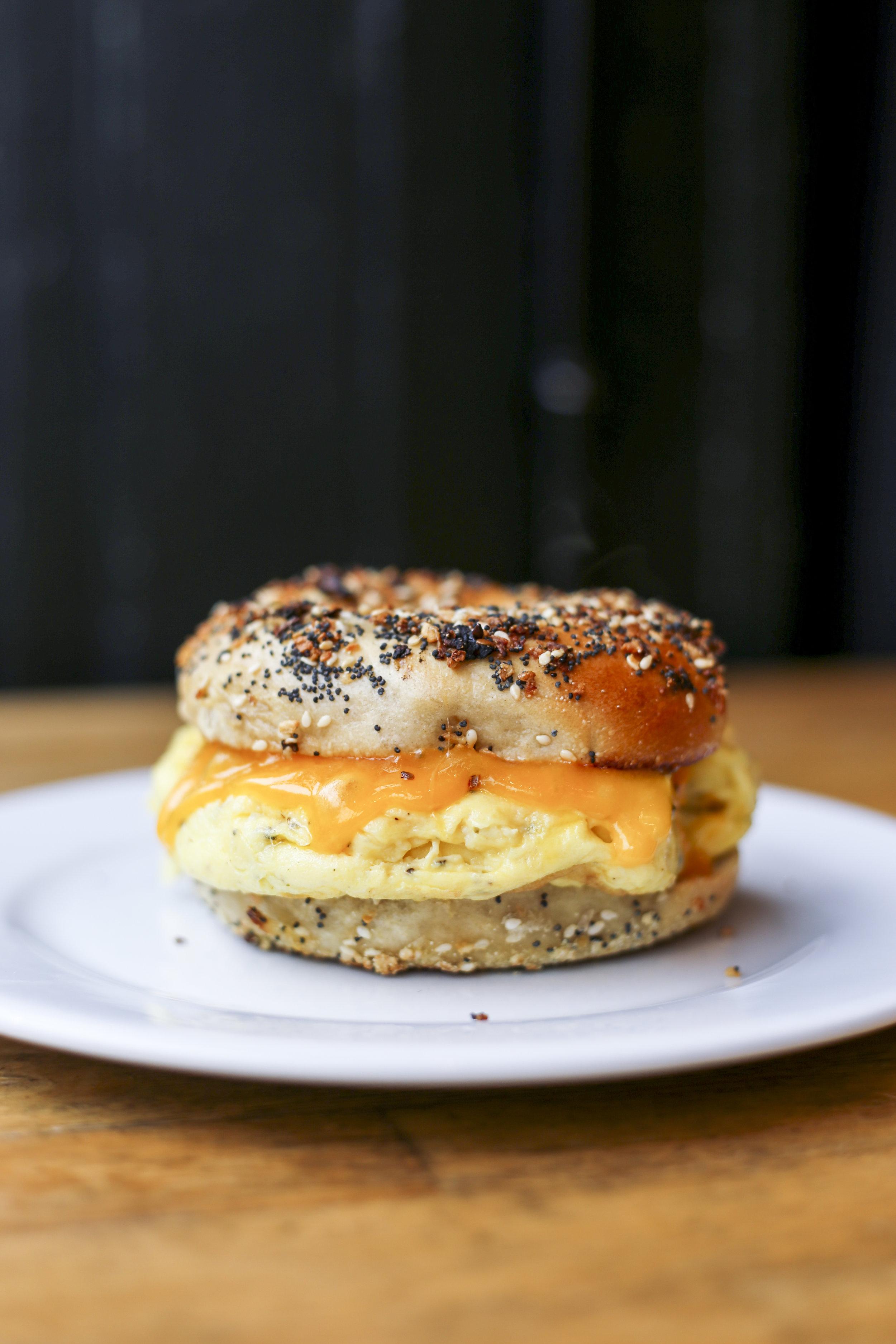 The breakfast bagel at Sadie's Weekdays.